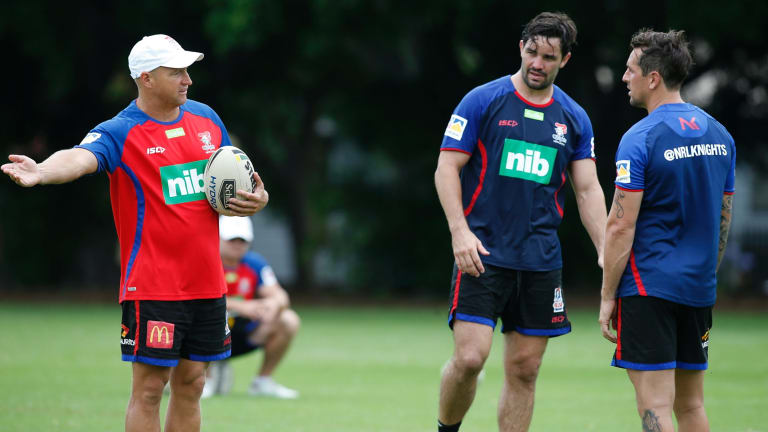 First day: Nathan Brown instructing Mitchell Pearce.