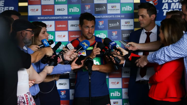 Media scrum: Knights new signing Mitchell Pearce.