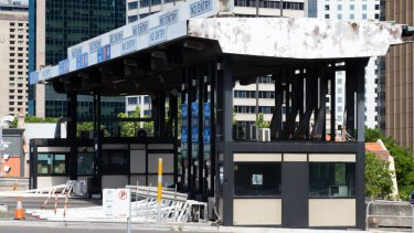 The abandoned toll booths at the southern end of the Harbour Bridge will be removed over the summer holidays.