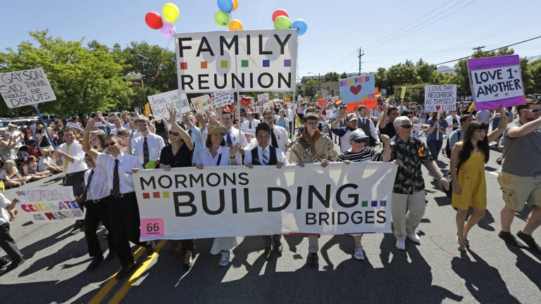 Members of the Mormons Building Bridges marching during the Utah Gay Pride Parade in Salt Lake City in 2013.
