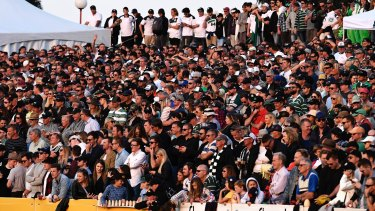 Healthy crowd: A packed North Sydney Oval for the Shield final.