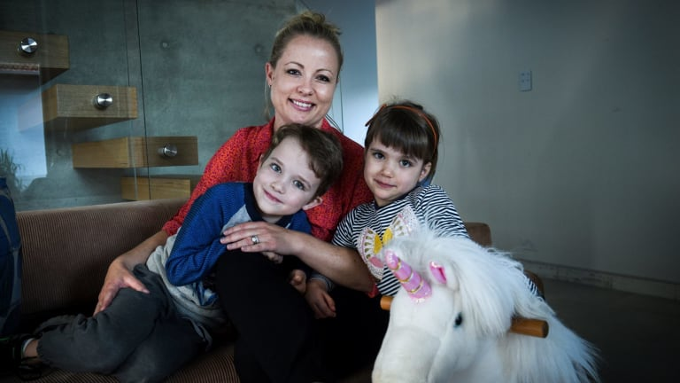 """""""It's an archaic stereotype"""": Alison Boston with her son Wesley and daughter Sadie."""