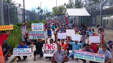 Refugees and asylum seekers protest at the Manus Island immigration detention centre in Papua New Guinea on Tuesday.
