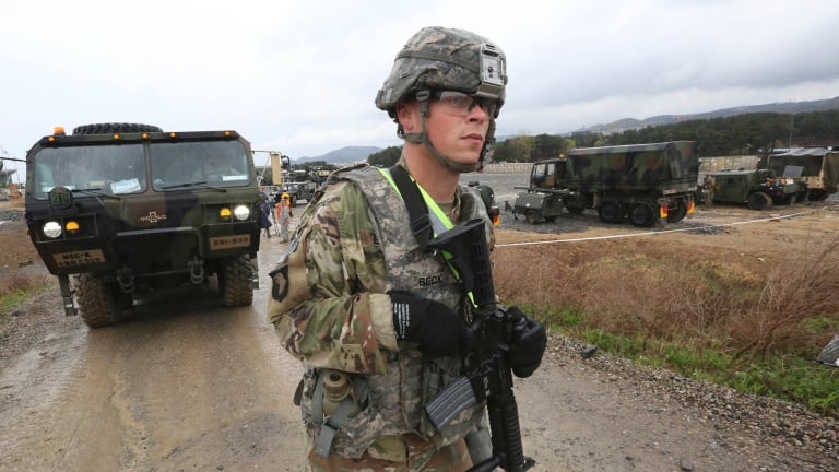 An American soldier trains in a US-South Korea joint exercise in Pohang, South Korea, on Tuesday.
