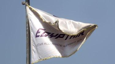 An EgyptAir flag outside the temporary EgyptAir Crisis Centre at Cairo International Airport.
