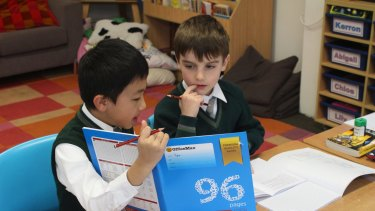 Maths group students Ryan Shi (left) and Simon Smith at Sydney's Arden Anglican School.
