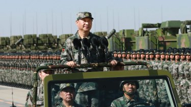Chinese President Xi Jinping inspects a military parade on Monday.