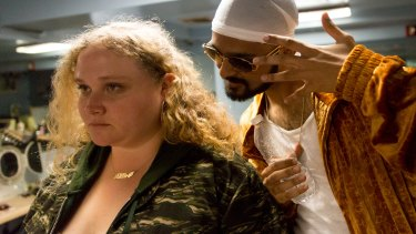 Danielle Macdonald and Siddharth Dahanajay in Patti Cake$.