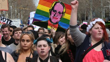 Supporters during a marriage equality rally in Melbourne.