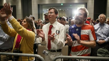 Donald Trump supporters listening to their preferred candidate speak on Monday in Cedar Rapids, Iowa.