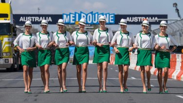 On the chopping block: Grid girls at the Melbourne Grand Prix.