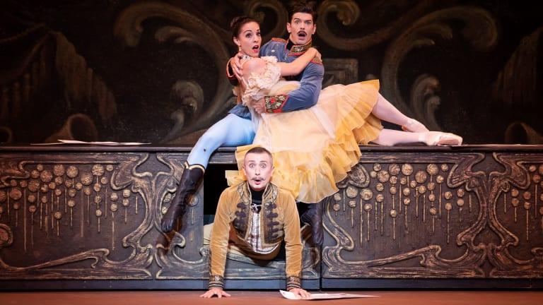 Leanne Stojmenov, Andrew Killian and Frank Leo (bottom) star in the Australian Ballet's <i>The Merry Widow</I>.