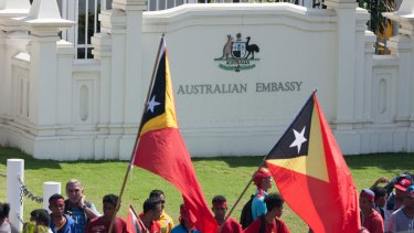 Protesters at the Australian embassy in Dili, the capital of East Timor, last year, calling for a final maritime boundary in the Timor Sea.
