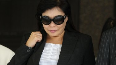 Helen Liu leaving the Sydney Supreme Court  in 2011.