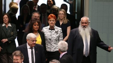 Senator Pauline Hanson enters the House of Represenatives for the address of Prime Minister of Singapore Lee Hsien Loong arrives to the Parliament of Australia at Parliament House in Canberra on Wednesday 12 October 2016. Photo: Andrew Meares