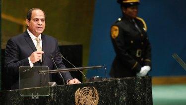 Main man: Egyptian President Abdel Fattah al-Sisi  addressing the UN General Assembly in September.
