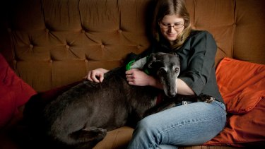 Belinda Oppenheimer with her rescued greyhound Tobias.