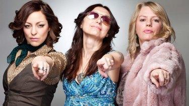 "Monique Brumby, Kerri Simpson and Rebecca Barnard as ""Sheilas of the 70s', part of the Darebin Music Festival,"