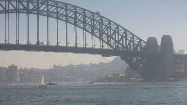 Sydney Harbour was covered in a smoke haze caused from hazard reduction burns on Saturday.