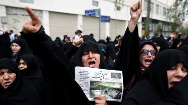 Iranians rally to reject any concessions to the West after Friday prayers in Tehran.