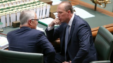 Prime Minister Malcolm Turnbull and Immigration Minister Peter Dutton in question time on Thursday.