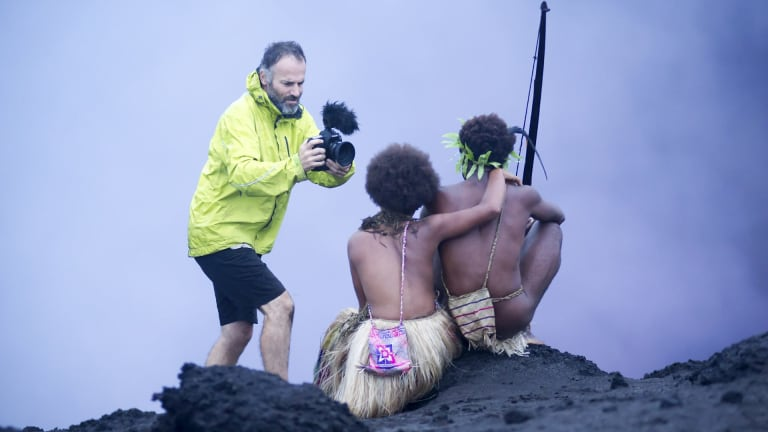 Bentley Dean films Marie Wawa and Mungau Dain for <i>Tanna</i>.