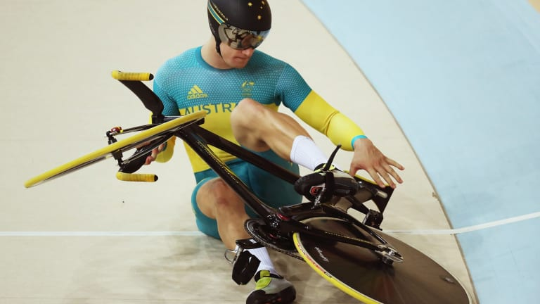 Matthew Glaetzer of Australia blows a tyre around a turn during the Men's Keirin.