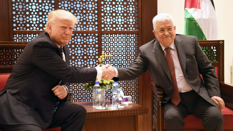 Palestinian Authority president Mahmoud Abbas meets US President Donald Trump in Bethlehem in May.