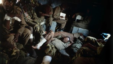 Wounded government soldiers, Huambo, Angola.
