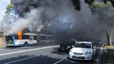 Thick plumes of smoke reduced visibility to drivers as two southbound lanes were closed.