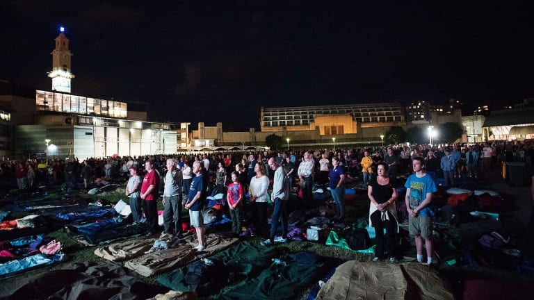 Night falls at Camp Gallipoli on April 24, 2015.