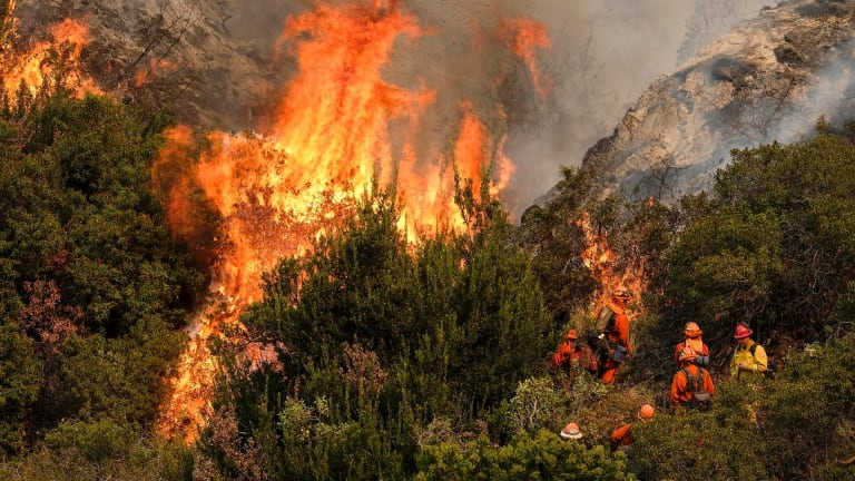 A crew with Cal Fire battles a brushfire on the hillside in Burbank, California, on Saturday.