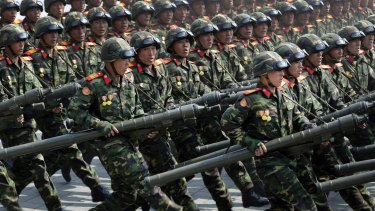 North Korean soldiers carrying rockets march during a military parade to celebrate the 105th birth anniversary of Kim Il-sung in Pyongyang. The country likes to celebrate anniversaries with shows of military might.