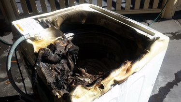 A Samsung washing machine that caught fire after it was repaired at an Avoca Beach home in July.