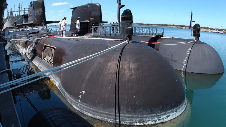 After several years of absence HMAS Collins returns to Fleet Base West. It is the first time ever that all the Collins Class submarines have been alongside Fleet Base West.
