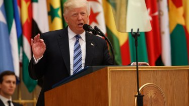 US President Donald Trump delivers a speech to the Arab Islamic American Summit at the King Abdulaziz Conference Centre on Sunday.