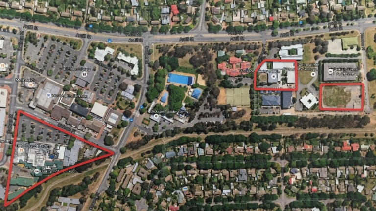 Land owned by traders in Dickson shops including the car park they bought from the government. And the two blocks behind the pool which the government bought from the Tradies, including the CFMEU headquarters.