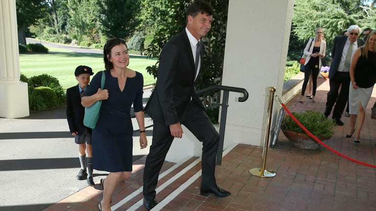 Angus Taylor arrives at the swearing-in ceremony for members of the new Turnbull ministry at Government House in on Thursday February 18.