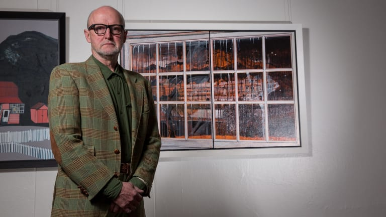 Raymond Arnold with his work <i>Off the Grid - Constructing Settlement / Constructing Memory</i> in Right Here Now.