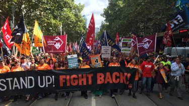 Thousands of workers rallied in Melbourne and around the country against an Abbott government inquiry into workplace relations.