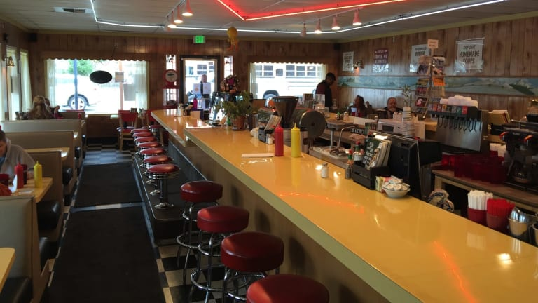 Inside Twede's diner, which was the Double D in Twin Peaks.