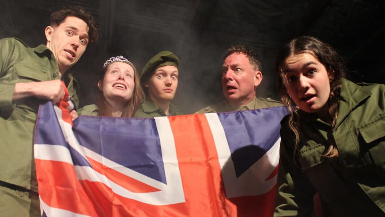 Scott Bowcher, Katharine Berry, Brendan Kelly, James Scott and Annie Liana Scottt in <i>Henry Five</I>.