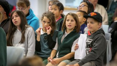 The audience watches on as Essex Heights Primary School students interview an astronaut on the International Space Station.