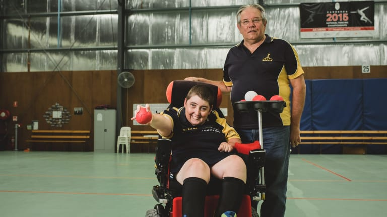 Corena Harrison, who has cerebral palsy, is the captain of the ACT boccia team competing in the Canberra Cup in Tuggeranong this weekend. Her coach Barry Yesberg says she is a fierce competitor.