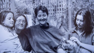 Bryden in 1995, when she first received her diagnosis of dementia; at the time she was a recently divorced mother of three daughters, (from left) Micheline, Ianthe and Rhiannon.