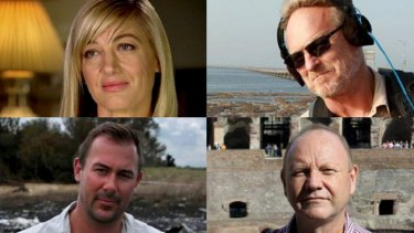 """The <i>60 Minutes</i> team who were detained in Lebanon: Tara Brown, David """"Tangles"""" Ballment, Stephen Rice and Ben Williamson."""