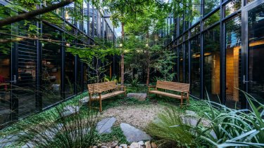 A courtyard at The Commons, which has co-working spaces in Collingwood and South Melbourne.