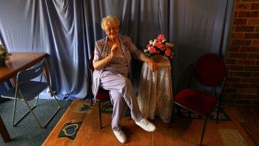 Joy Hruby in her home garage TV studio for the Australia Day honours list in 2007.
