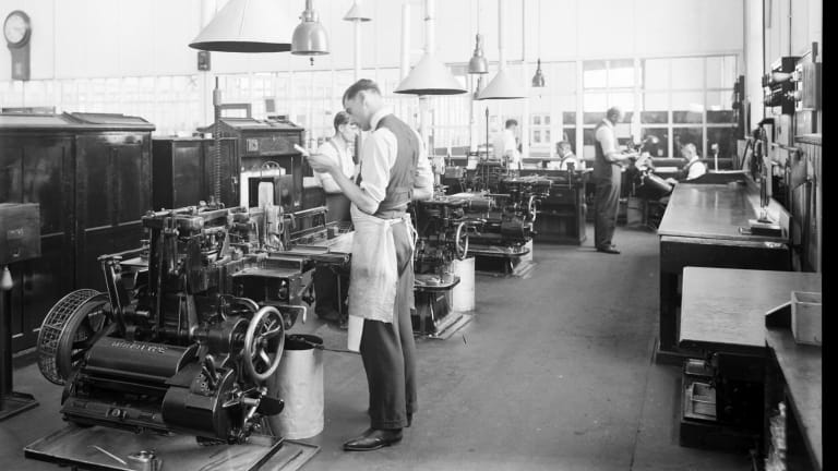 The interior of Laurens Hall, then known as the Victorian Railways' Arden Street North Melbourne Printing Works, date unknown.