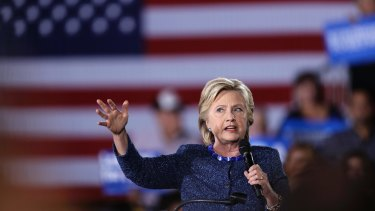Hillary Clinton at a rally at Theodore Roosevelt High School in Des Moines, Iowa.